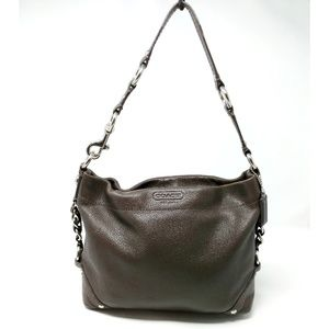 Coach Carly Brown Pebbled Leather Shoulder F15251